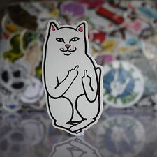 Cartoon White Cat Salute You Middle Finger Up Skateboard Sticker Suitecase Decal