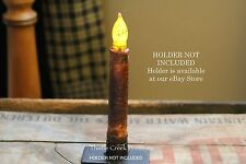 """Primitive Country Burnt Mustard 6.5"""" TIMER Battery Operated LED Taper Candle"""