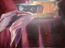 O/C unsigned: Stilllife with copper pot;ear of corn and redware bowl..Welldone.