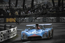 Bell / Ganley / Schuppan SIGNED 12x8 Gulf Racing Mirage M6 , Le Mans 24hrs 1973