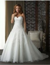 New White/Ivory Organza Wedding Dress Bridal Gown Size 6-16 Uk