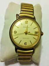 Vintage 1966 Mens Caravelle Gold Tone 17J Swiss Mechanical Watch W/ Date Cal