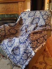 Flower Quilt Vintage Inspired Navy Blue Jacquard Woven Throw Afghan Blanket NEW