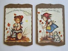 Vtg Happiness Love Kitten Art Wall Plaques Souvenir Rehoboth Beach, Del Pictures
