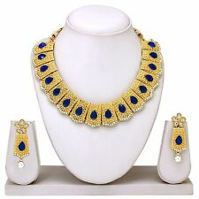 Indian Bollywood Fashion Bridal Gold Tone Diamond Necklace Earrings Jewelry set