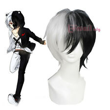 USA ship Dangan Ronpa monokuma 30cm Short Black And White Cosplay Wig CB57