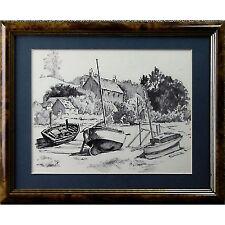 Original Framed Holloway Savage Pill Bristol Boat Severn Estuary Maritime Sketch