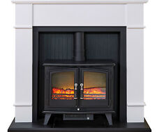 ELECTRIC BLACK STOVE WHITE MODERN SURROUND FREESTANDING LOG FIRE FIREPLACE SUITE
