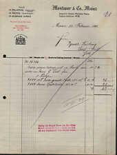 MAINZ, Rechnung 1916, Kork Montaner & Co.