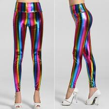 Woman Empire Waist Fashion Fluorescent Party Rainbow Sexy Leggings