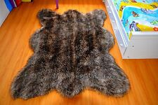 Brown Mountain Coyote Fur Faux Fur Rug 5' x 7' Large Area Rug Wolf