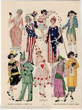 UNCLE SAM LADY LIBERTY HALLOWEEN COSTUMES ANTIQUE GRAPHIC ART POSTER PRINT 1924
