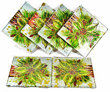Holly Berry Design Glass Coaster Set