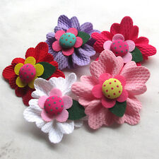 5/15/30/150PCS Large 6CM Padded Felt Ribbon Flowers Bow Appliques Decor Mix