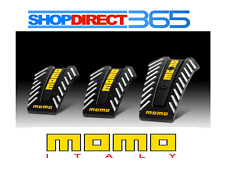 "Genuine MOMO ""Nero"" Black/Silver/Yellow Pedal Pads Non slip sports 3pcs - NEW UK"