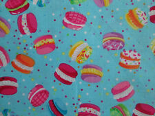 Whoppie Pies Macaroons Cookies Food Fabric Blue Cotton Fabric FQ