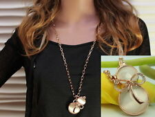 Good Luck Fortune Symbol clear crystal calabash pendant gold long necklace F52