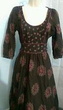 Anthropologie Viola Retro Fall MOD Dress Boho Cotton Empire Waist Sz 2 Lined