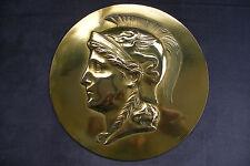 ancienne grande médaille en bronze doré guerrier greco romain Pégase bas relief