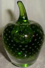 Vintage Green Apple Bubble Art Glass Paper Weight Desk Collectible Glassware