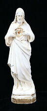 "Vtg French 13"" Chalkware SACRED HEART JESUS CHRIST Statue Religious Catholic God"