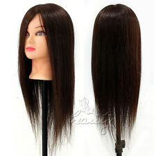 "100% 20"" Hairdressing Cutting Mannequin Real Human Hair Practice Training Head"