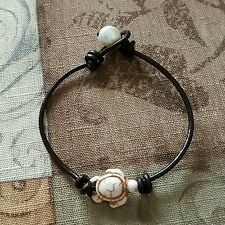 MACRAME LEATHER WHITE HOWLITE TURTLE & PEARL BEAD BRACELET $8.99