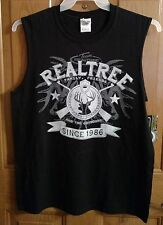 Men's Realtree Black Muscle Shirt Medium Antlers Hunting Fishing NEW