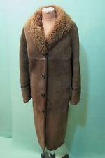 Schöner Lamm Fell Mantel Damen braun Gr 52/XXL Leder vintage shearling coat
