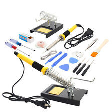 18in1 110V 60W Electric Soldering Iron Tool Kit Set w Sucker Tin Wire Iron Stand
