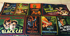 HALLOWEEN MONSTER Movie HORROR Poster Fabric PANEL Werewolf Dracula Mummy Zombie
