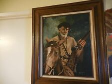 Oil Painting on Canvas of Frontiersman Trapper on Horse Signed L K Atkins 1978