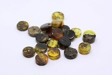 Lot Of 20 Natural Baltic Amber Stone Beads With Hole Button Shape #S8252
