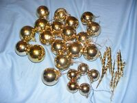 Selection Of Plastic Christmas Tree Decoration Baubles Icicles Ornaments Gold