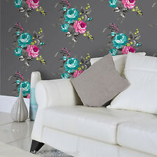 Multi-coloured, Hand Painted Effect,Catharina Floral Wallpaper by Holden Decor