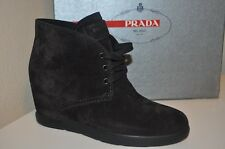 NIB PRADA Black Suede Short Boot Hidden Wedge Lace Up Bootie Boots 39 - 9 Womens