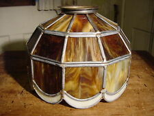 VINTAGE NOS CARAMEL SLAG GLASS LEADED LAMP SHADE CREAM BASE HAND SOLDERED