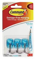 3M Command Boldly Blue Wire Hooks 3 Hooks 4 Small Clear Strips 17067CLR-BB