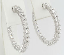 1.5 ct 14k White Gold Inside Out Round Cut Diamond Hoop Earrings 25.5 mm 1""