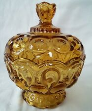 LE Smith Amber Moon and Stars Compote Candy Dish Lid Covered