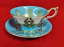 STUNNING TURQUOISE AYNSLEY TEA CUP AND SAUCER