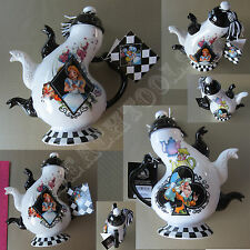 New Authentic Disney Parks Alice in Wonderland White Triple Spout Teapot Hatter