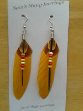 Native American Feather Earrings Hand Made Available With 925 Silver Hooks
