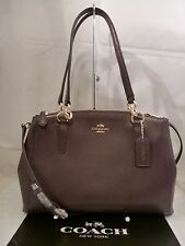NWT COACH AUBERGINE CROSSGRAIN LEATHER SM CHRISTIE CARRYALL SATCHEL PURSE 36637