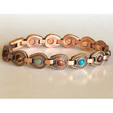 "LADIES 7.5"" COPPER HORSESHOES with  STONES MAGNETIC  BRACELET  NWT 6415"