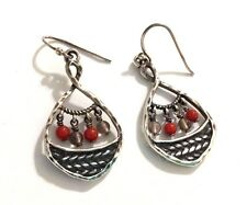 Rare!! Silpada Coral, Smoky Quartz & Sterling Silver Earrings - W2220 - RETIRED