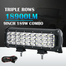 "9"" 189W PHILIPS 3 Rows Spot&Flood LED Work Light Bar Offroad SUV Driving Lamp"