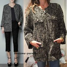 RARE ZARA WOMAN BOUCLE WOOL OVERSIZE BUTTONS BLAZER COAT JACKET SMALL - S