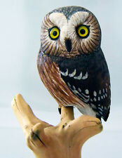 Wood Carving by Ira Frost SAW-WHET OWL on Dead Tree, Signed, Dated Handcarved