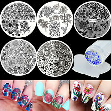 6pcs BORN PRETTY Nail Art Stamping Plates Butterfly Flower &Silicone Stamper Kit